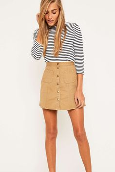 99c44dcd6 Urban Outfitters Khaki Twill A-Line Skirt 90s Inspired Outfits, Khakis  Outfit, Urban
