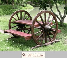 Wagon wheel picnic table-Absolutely have to get this some day!!