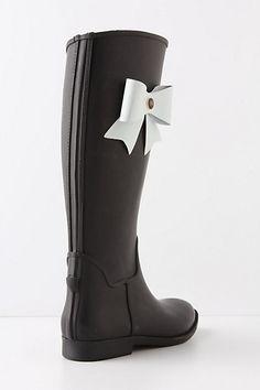 Women's Black Bow Rain Boots - Black Rain Boots With Yellow Bow ...