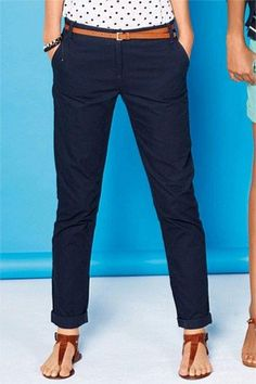 Next Textured Cotton Chinos - EziBuy Australia Blue Pants Outfit, Navy Blue Pants, Casual Outfits, Cute Outfits, Summer Outfits, Work Casual, Casual Looks, Look 2015, Blue Chinos