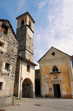 Rustic village in mountain's of Corippo with stone houses and church -Val Verzasca, Ticino, Alps,