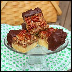 Chocolate Dipped Pecan Bars (recipe via BAREFOOT CONTESSA)!!!  :)
