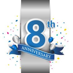 8th anniversary logo with silver label and blue ribbon, balloons, confetti. 8 Years birthday Celebration Design for party, and invitation card