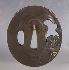 Soft-Metal Tsuba with Tiger.19th.century.