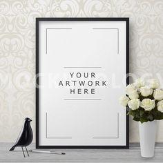 Vertical Black Frame Mockup Poster Mockup Styled by Mockupology