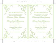 Printable Wedding Invitation Template Mint by PaintTheDayDesigns