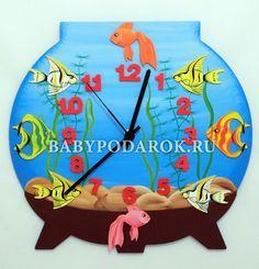 "Children's wall clocks (wooden) ""Aquarium"""