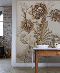 I'm totally crushing on mural wallpaper, and as much as I'm inclined to change things up around our home I think I love it enough to . Interior Inspiration, Design Inspiration, Decoration Inspiration, Wall Design, House Design, Vibeke Design, Interior Decorating, Interior Design, Wall Treatments