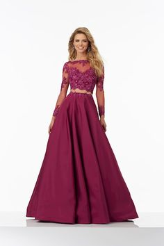 Morilee 99135: Two-Piece Lace on Net Top with Taffeta Skirt