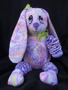 14stuffed yo yo bunny in lime lavendar pink and by SursyShop, $35.00