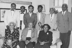 Samoan chiefs visit, 28 August 1952. Standing, left to right: Talking Chief Uo (Lealataua County), Cheif Apineru Tufaga Matalola (Mauputasi County), Tausilinuu D. Hannemann (Manu'a County, nephew of late Queen Margaret Tuimanu'a of Samoa), Talking Cheif Pe'ape'alalo (Mauputasi County), Mr. Tiave Salima (Tualauta County), Cheif Savea (Tualauta County). ( N-3120.13).