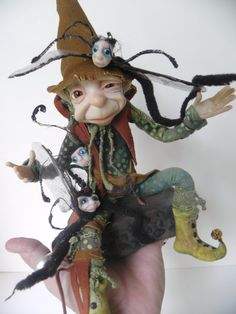 ooak the TROUBLE with WORMS .... art doll FANTASY by dinkydarlings
