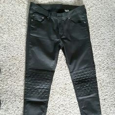 H&M Black Coated Skinny Moto Pants These have been worn only once, moto black coated pants, semi-stretchy. Size 31 (which is equivalent to Medium US, between 8-12) but run smaller so I think would better fit a size 6-8. Skinny pant,  low waist, ankle length, silver zipper on each leg, moto style patches on the knees. Like new condition. H&M Pants Skinny