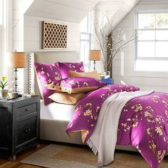 2016 Home Textile 100% Cotton Purple Floral American 4 PC Bedding Set King or Queen