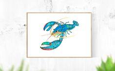 #watercolor #etsy #lobster #blue #wallart #decor #printable Watercolor Sea, Watercolor Artwork, Lobster Art, Modern Art, Contemporary Art, Blue Artwork, Nautical Theme, Color Themes, Colorful Decor