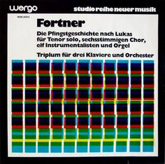 """WERGO started its studio reihe neuer musik (""""studio series new music"""") in 1962. The covers for the early-1970s edition were designed by Günther Stiller. He combined a variegated pattern of color squares with titles in Gill Sans Bold, Gill Extra Bold and the even bolder Gill Kayo.  Typefaces Gill Kayo Gill Sans"""