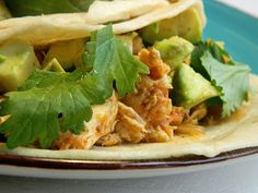 Shredded Fiesta Lime Chicken Tacos - Crockpot Recipe | The Salty Kitchen