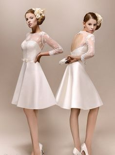 short lace wedding dress--reception