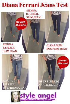 A fun experiment to try all sorts of different styles jeans. The first and last were my favorites. So comfortable! Bootleg Jeans, Slim Jeans, Boyfriend Jeans Style, Pear Body, Slim Waist, Mix N Match, Body Shapes, Experiment, Different Styles