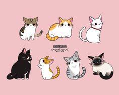 [수제스티커] 고양이 일러스트2,3