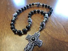 Black Lampwork Glass Anglican Episcopal Protestant Prayer Beads Rosary  | eBay