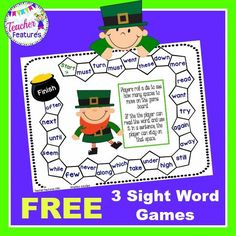 *****FREEBIE***** St. Patrick's Day: Your kiddos will have lots of fun playing this St. Patrick's Day sight word game (with 2 BONUS games included)!