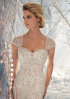 love the top of this dress with the beading...and the cap sleeves are gorgeous! BRIDAL By Mori Lee Style 1963