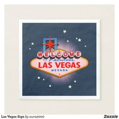 Shop Las Vegas Sign Napkins created by Personalize it with photos & text or purchase as is! Las Vegas Sign, Las Vegas Nevada, Paper Napkins, Paper Plates, Ecru Color, Corner Designs, Cocktail Napkins, Invitation Cards, Wedding Colors