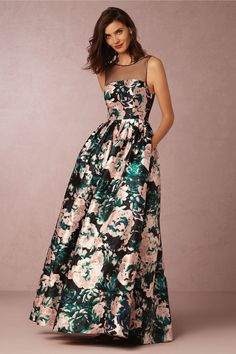 floral black tie dress | Cora Ball Gown from BHLDN