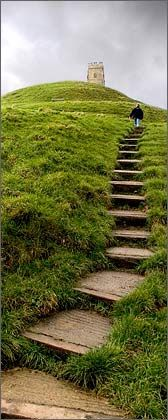 Stairs:  Steps up Glastonbury Tor, Somerset, England, to St. Michael's Tower.  I have climbed these steps to the top.