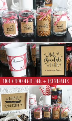 Hot Chocolate Bar + Printables With the cooler weather upon us and family in town the week of Thanksgiving, I thought it would be fun to create a Hot Chocolate Bar during their visit. My kids and I love hot chocolate, so this wa… Choclate Bar, Hot Chocolate Party, Cocoa Party, Hit Chocolate Bar, Hot Chocolate Bar Wedding, Chocolate Recipes, Xmas Party, Holiday Parties, Holiday Fun
