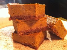 Pumpkin Pie Bars: Crust: 1 1/2 cups almond meal 1 egg 1/4 teaspoon baking soda 1 Tablespoon cinnamon 2 Tablespoons coconut oil Filling: 10 dates 1 15 ounce can of pumpkin 1 1/2 cups coconut milk 2 teaspoons cinnamon 1 teaspoon nutmeg 1/2 teaspoon ginger 1/2 teaspoon cloves 1/2 teaspoon allspice 3 eggs