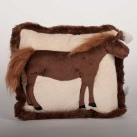 This 13 inch pillow has a plush Bay horse profile as part of the pillow. Great for the young horseman or horse girl