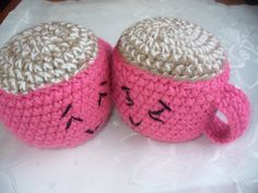 2 crochet mugs with coffeamigurumi crochet toyskawaii : by goshet