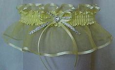 A delicate Sheer organza Garter for your Wedding Bridal or Prom in Baby Maize Yellow, Lemon Yellow, Chamois & Old Gold. Personalize your Sheer Elegance Garter. Wedding Jitters, Prom Garters, Wedding Dress Accessories, Lace Garter, Baby Yellow, Wedding Garter, Yellow Wedding, Crystal Rhinestone, Bow