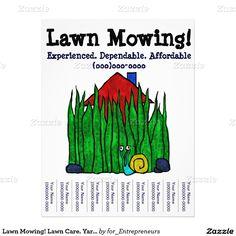 Lawn Mowing! Lawn Care. Yard Word. Custom Flyer