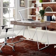 The Modway Panel series modern home office desk is perfect for computing. This contemporary home office furniture solution is an absolute bargain buy in both the birch and cherry finish options. Canapé Design, Deco Design, Design Moderne, Modern Design, Design Ideas, House Design, Bureau Design, Home Office Desks, Home Office Furniture