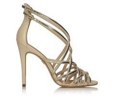 Kremowo-złote sandały damskie