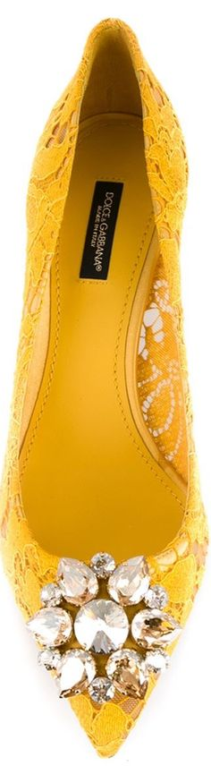 DOLCE & GABBANA Floral Lace Embellished Pumps, Yellow