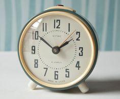 Vintage Mechanical Alarm Clock Grey Soviet Era by SovietEra, $37.00
