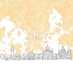 Helsinki Finland Skyline Map by Hebstreit #drawing #sketch #travel #pen #download #digital #vector #art #stockimage #hebstreit