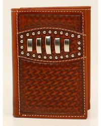 Ariat Basketweave Studded Concho Trifold Wallet - Sheplers