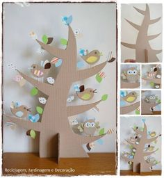 Cardboard tree and coctail-stick-feet birds. Kids Crafts, Diy And Crafts, Craft Projects, Cardboard Tree, Cardboard Crafts, Diy Paper, Paper Crafts, Diy Toys, Spring Crafts