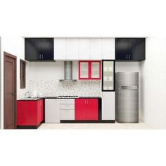 Irresistible L-Shaped kitchen with dual color combination makes you feel confound. Get your favorite l shaped kitchen inline for small & Indian homes.
