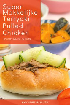 Japans eten was nog nooit zo makkelijk! Dit smakelijke, Japanse recept voor teriyaki pulled chicken combineert het heerlijke van kip (of varkensvlees, of jackfruit uiteraard), met het beste van teriyakisaus. Een American Classic, met een Japanse twist! Al helemaal heerlijk als je hem combineert met een frisse, Japanse coleslaw. Hot Dog Buns, Hot Dogs, Pulled Chicken, Bread, Food, Shredded Chicken, Brot, Essen, Baking