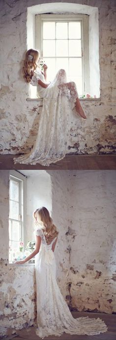 2015 Elegant Shiny Sheath Lace Wedding Dresses Custom Made Beauty design