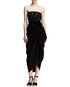 Strapless Beaded-Bodice Drape Dress by Lanvin at Bergdorf Goodman.