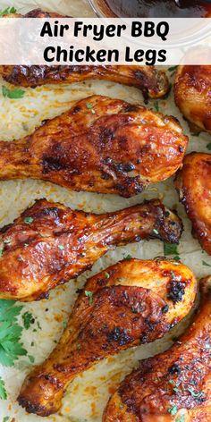 Air Fryer Chicken Leg Recipe, Chicken Thigh Recipes Oven, Air Fryer Oven Recipes, Air Frier Recipes, Air Fryer Dinner Recipes, Air Fryer Chicken Thighs, Bbq Chicken Legs, Chicken Wings, Baked Chicken