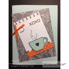 XOXO Heart Mug Card Alternate Paper Pumpkin Project Using Stampin' Up! July 2015 Thanks A Latte Kit/ www.stampinwithlinda.com