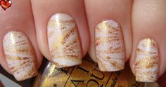 Onyx Nails: Golden Tiger Water Marble Manicure